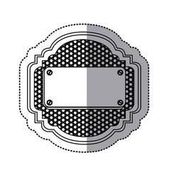 sticker silhouette heraldic metallic frame with vector image vector image