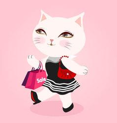 White cat fashion vector