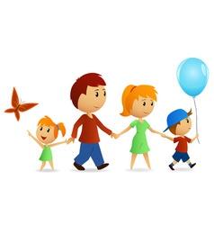 cartoon happy family on walk vector image
