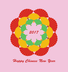 chinese paper color fan vector image vector image
