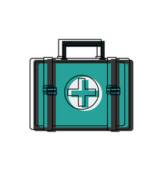 first aid kit medical emergency help attention vector image