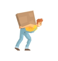 Mover Carrying A Large Box On His Back Delivery vector image