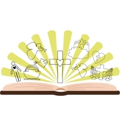 open Bible with different pictures and rays vector image