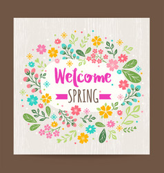welcome spring season floral background vector image vector image