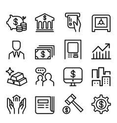 banking financial icon set in thin line style vector image