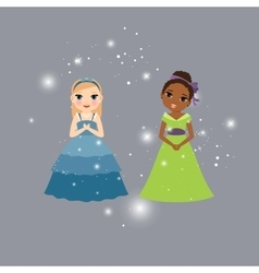 Beautiful princess cartoon characters vector image