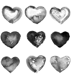 Collection of nine water color black hearts vector image vector image