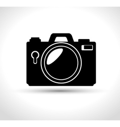 compact photo camera flash white background design vector image