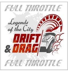 Drifting Car - emblem for racing club vector image