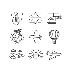 flat plane icons vector image vector image