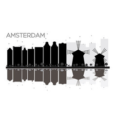 amsterdam city skyline black and white silhouette vector image