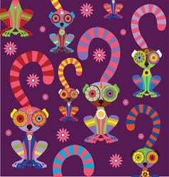 cartoon lemur pattern dark background vector image vector image