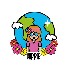 Earth planet with hippie woman and flowers vector