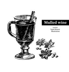 Hand drawn sketch cocktail mulled wine vintage vector
