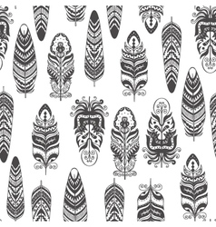 Seamless pattern with feather boho style vector