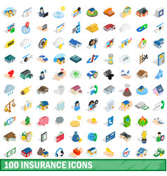 100 insurance icons set isometric 3d style vector image