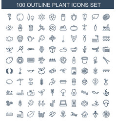 100 plant icons vector image