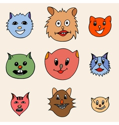 Adorable Cartoon Cats Faces vector