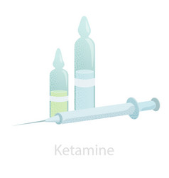 Ampoules with ketamine and a syringe an vector