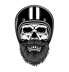 Bearded skull in racer helmet design element for vector
