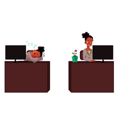 Black african businesswoman secretary working vector