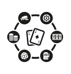black casino icon set vector image