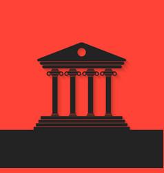 Black greek colonnade on red background vector