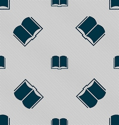 Book icon sign Seamless pattern with geometric vector image