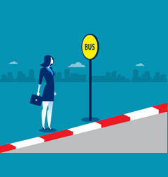 businesswoman at the bus stop concept business vector image