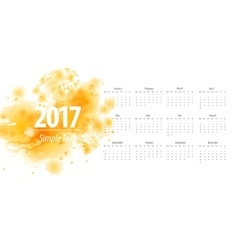 Calendar yellow 2017 week starts from sunday vector