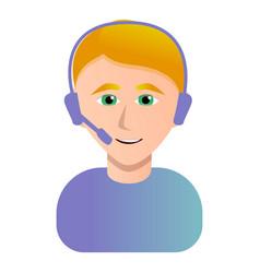 call center operator icon cartoon style vector image