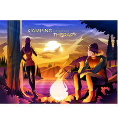 Camping is best therapy vector