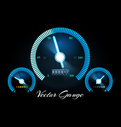 car dashboard with speed power and fuel gauge vector image