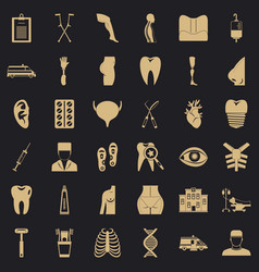 Care supervision icons set simple style vector