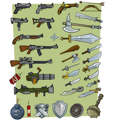 cartoon big weapons and explosive game icons set vector image