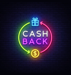 Cash back neon logo cash back neon sign vector