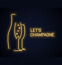 Champagne bottle neon banner and champagne glass vector