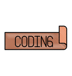 Colored pencil silhouette label text of coding vector
