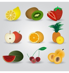 colorful fruits and half fruits icons eps10 vector image