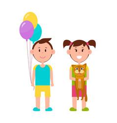 couple cute children color vector image