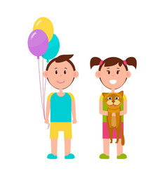 couple of cute children color vector image