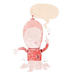 Cute cartoon alien and speech bubble in retro vector