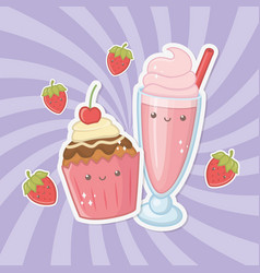 delicious and sweet milkshake and products kawaii vector image