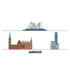 Denmark aarhus flat landmarks vector