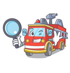 detective fire truck character cartoon vector image
