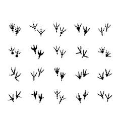 dino footprint icons set dinosaur foot print vector image