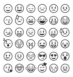 Emoticons outline emoji faces emoticon funny vector