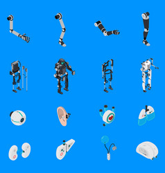Exoskeleton bionic prosthetics icons set vector