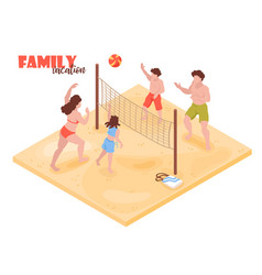family volleyball isometric composition vector image