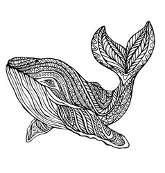 Fantasy ornament whale coloring page vector